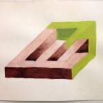 Leah Wolff, Impossible Shape 4a, 2012, watercolor on paper, 9&quot; x 12&quot;