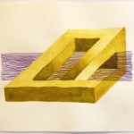 Leah Wolf, Impossible Shape 4b, 2012, watercolor and pastel on paper, 9&quot; x 12&quot;