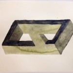 Leah Wolff, Impossible Shape 5a, 2012, watercolor and pastel on paper, 9&quot; x 12&quot;